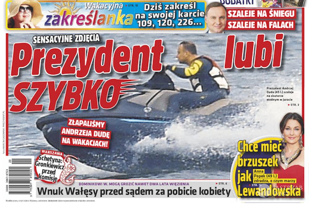 Andrzej Duda na skuterze wodnym