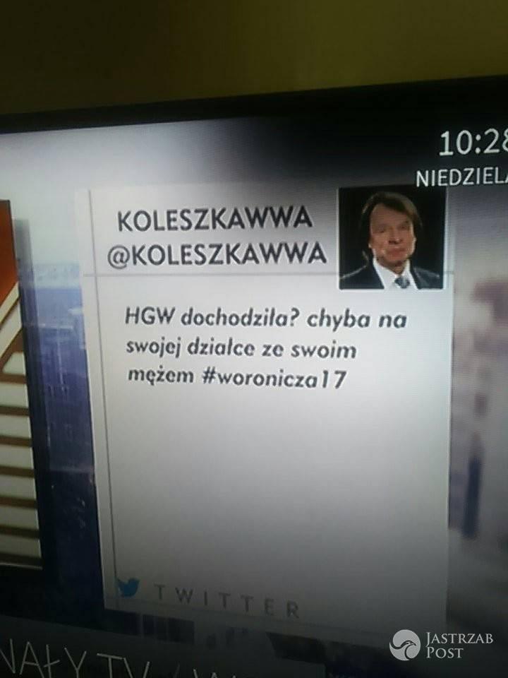 Obraźliwy tweet na temat Hanny Gronkiewicz Waltz