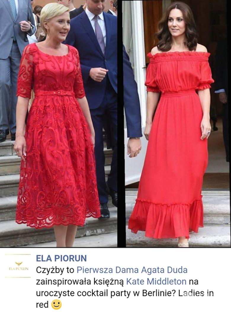 Agata Duda i księżna Kate w czerwonych sukienkach w ambasadzie