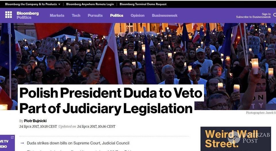 Zagraniczne media o wecie Andrzeja Dudy
