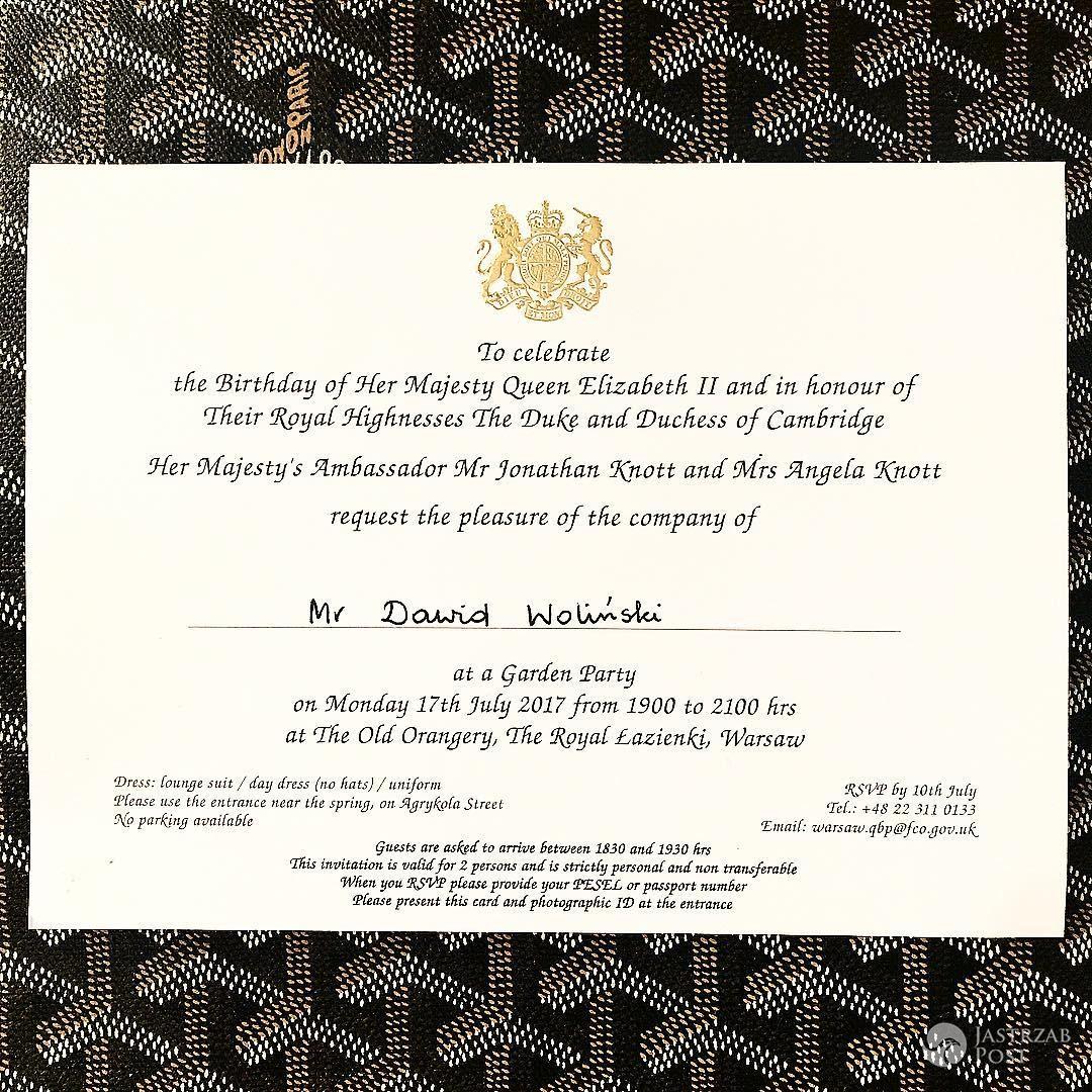 Dawid Woliński - zaproszenie na spotkanie z księżną Kate