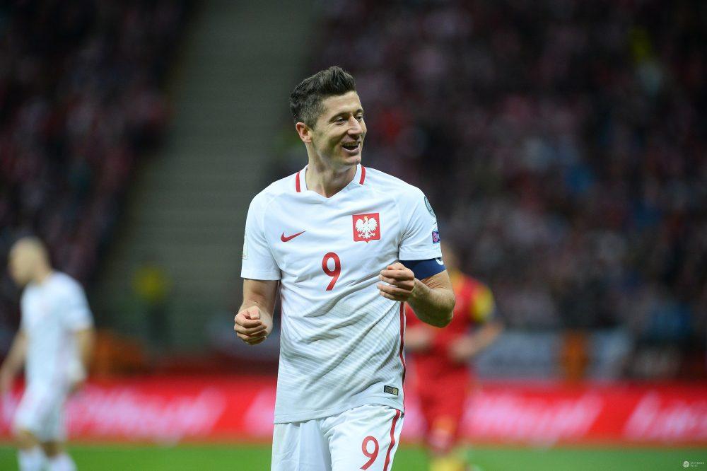 Robert Lewandowski na meczu Polska-Czarnogóra