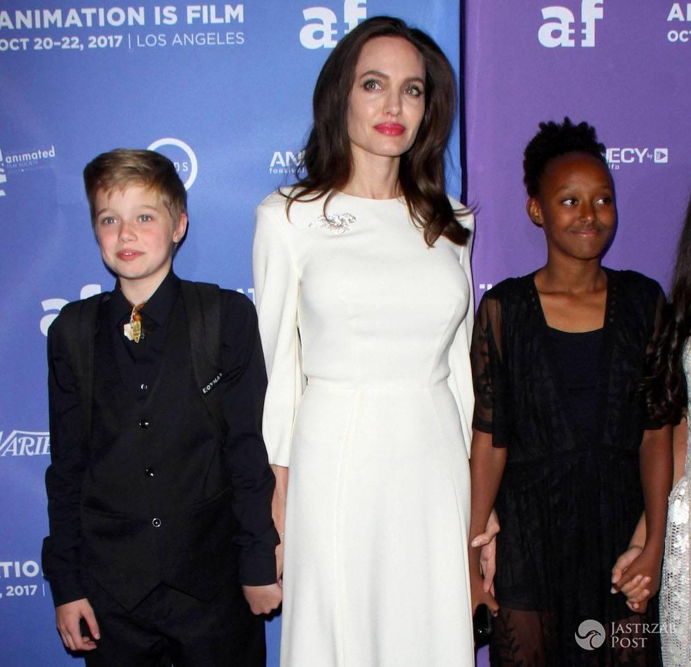 Angelina Jolie z dziećmi - Shiloh, Zahara. Premiera Breadwinner w Hollywood