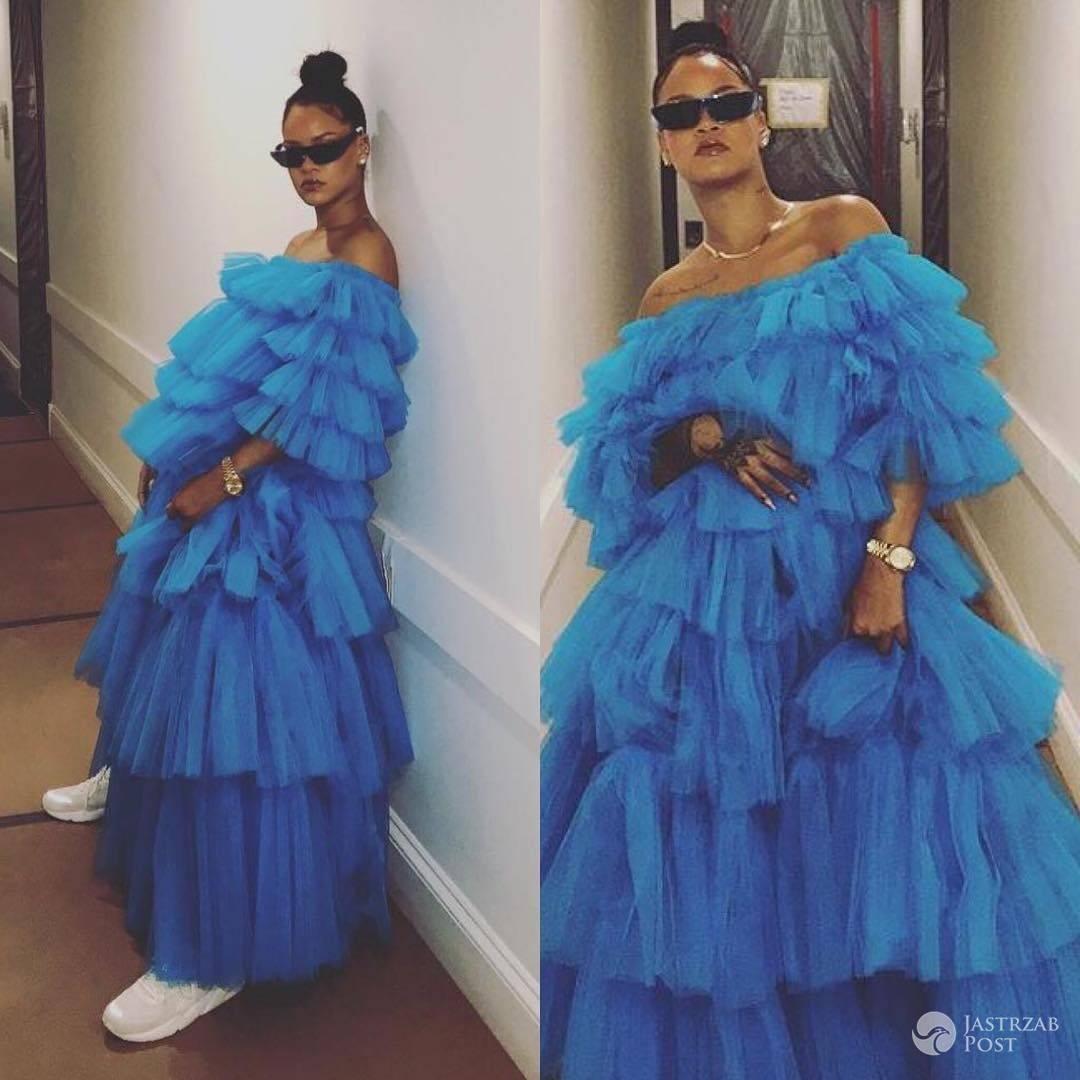 Rihanna w błękitnych tiulach