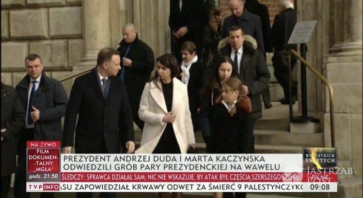 Andrzej Duda i Marta Kaczyńska na Wawelu/źródło:TVP Info