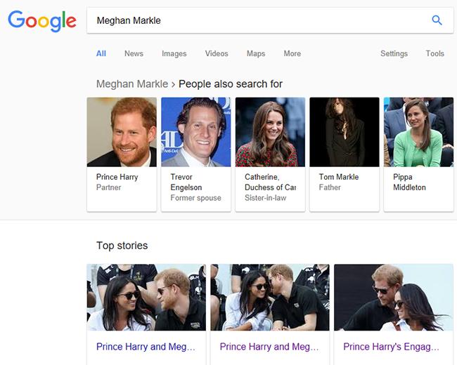 Meghan Markle w Google jest już żoną księcia Harry'ego