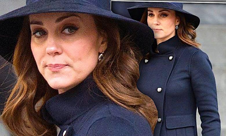 Księżna Kate w czarnym płaszczu