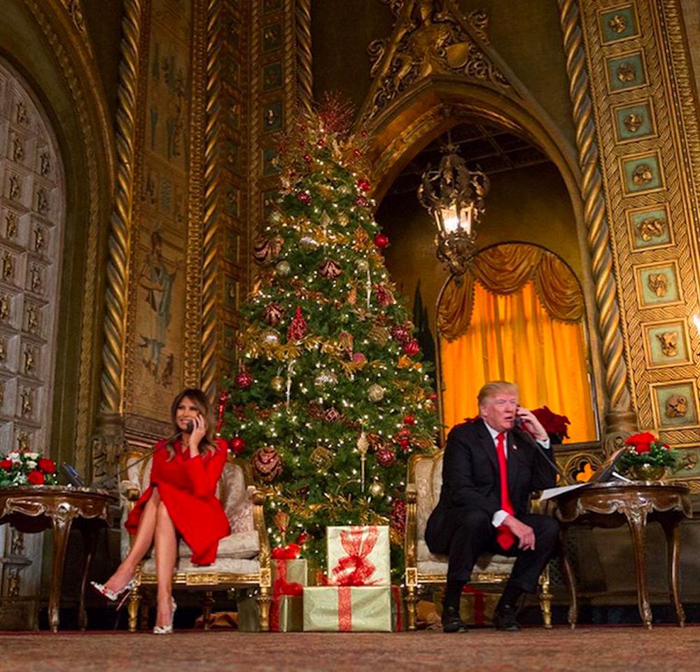 Melania Trump i Donald Trump śledzą trasę świętego Mikołaja (Santa Tracker)