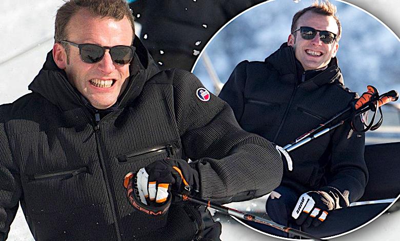Emmanuel Macron na nartach