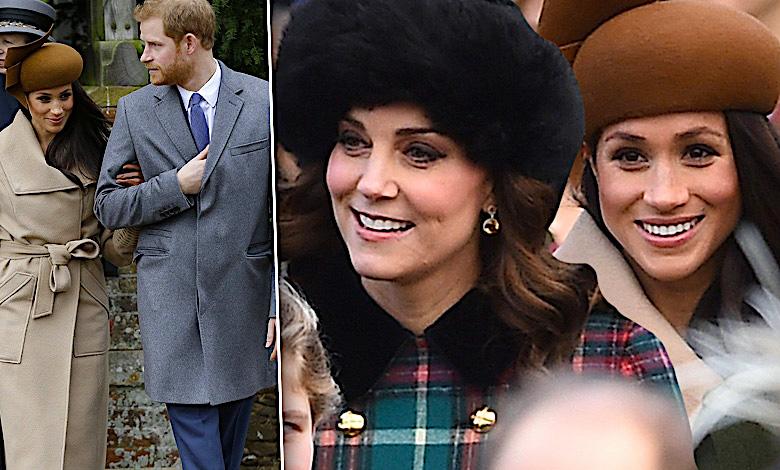Meghan Markle, księżna Kate i książę Filip na świątecznej mszy z okazji Bożego Narodzenia (2017)