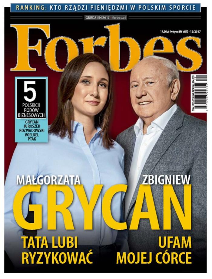 Małgorzata Grycan z ojcem na okładce Forbes, grudzień 2017