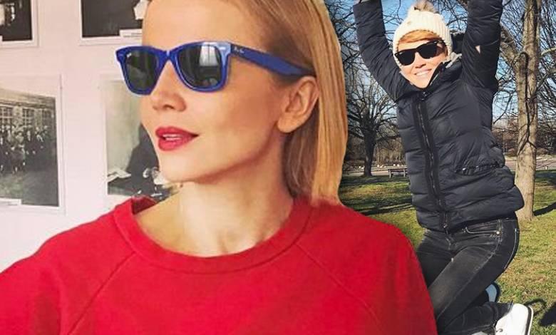 Katarzyna Zielińska z synem na pierwszym spacerze