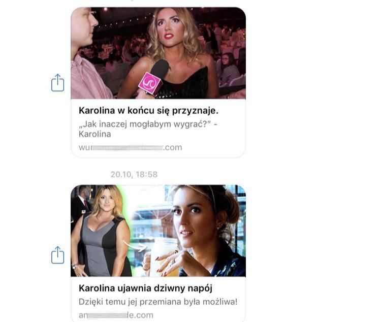 Wizerunek Karoliny Szostak został nielegalnie wykorzystany w reklamie środków odchudzających