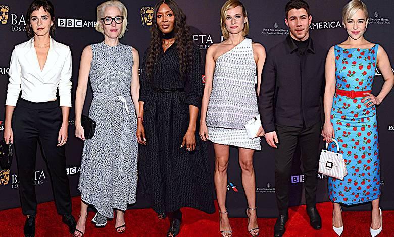 Złote Globy 2018: BAFTA Los Angeles Tea Party. Kreacje gwiazd