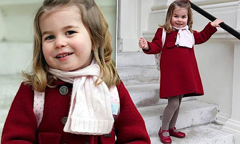 Księżniczka Charlotte w starych butach po księciu Harrym