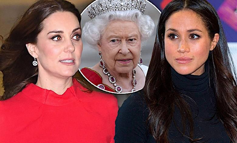 Księżna Kate i Meghan Markle, królowa Elżbieta II