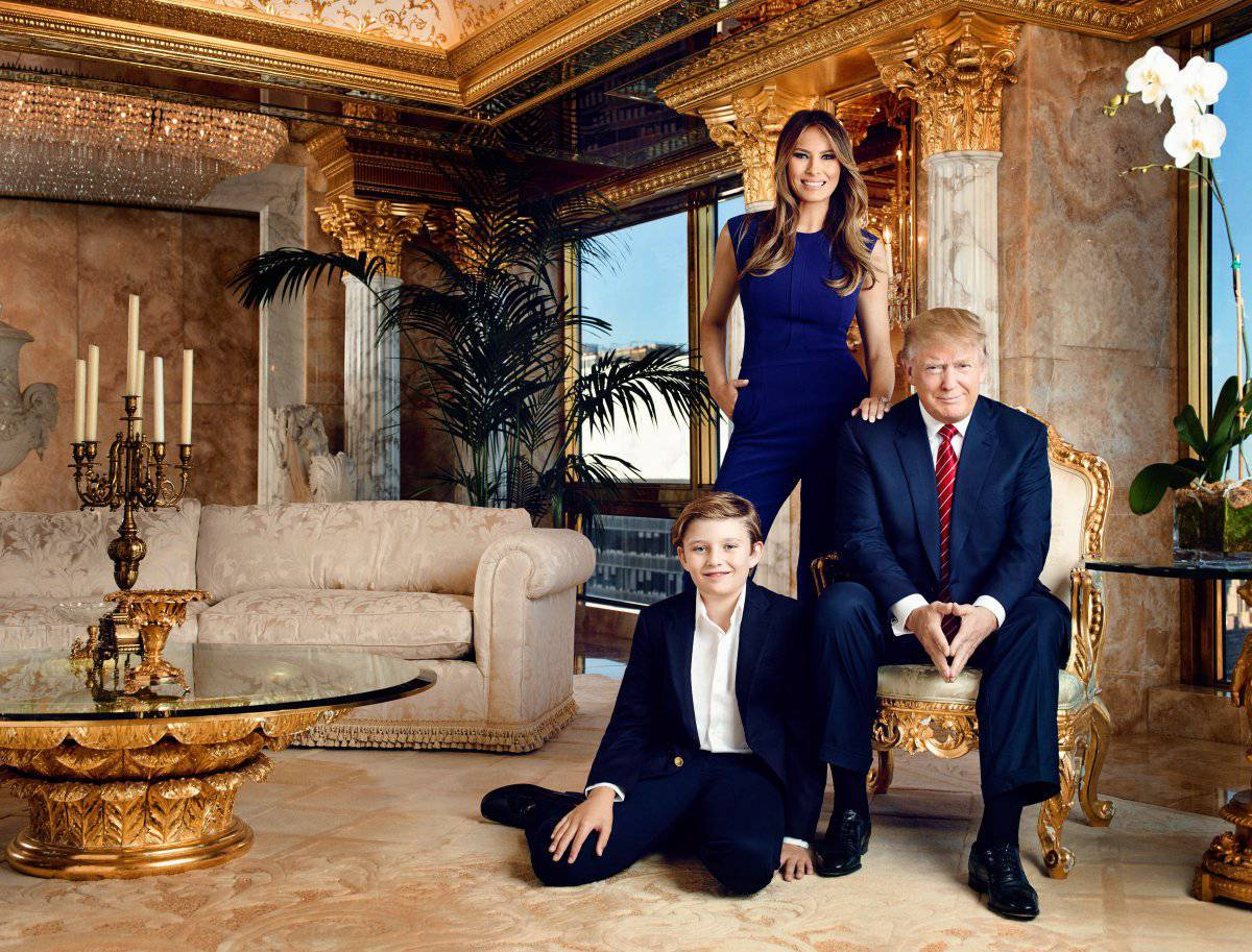 Oficjalny portret Donalda Trumpa, Melanii i ich syna Barrona