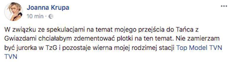 Joanna Krupa nie wystąpi w Tańcu z gwiazdami