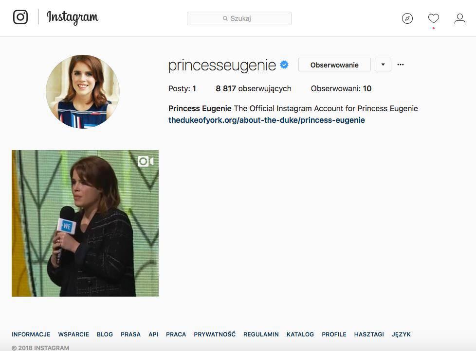 Księżniczka Eugenia ma profil na Instagramie