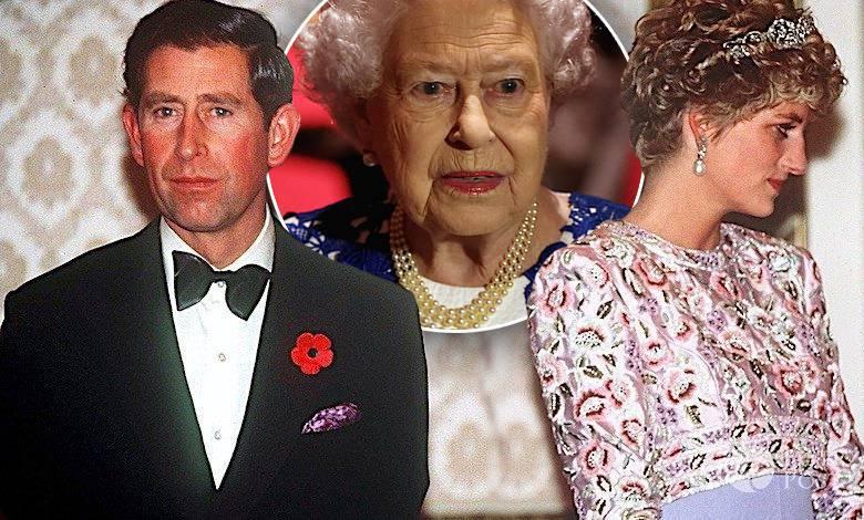 Księżna Diana, książe Karol, królowa Elżbieta II