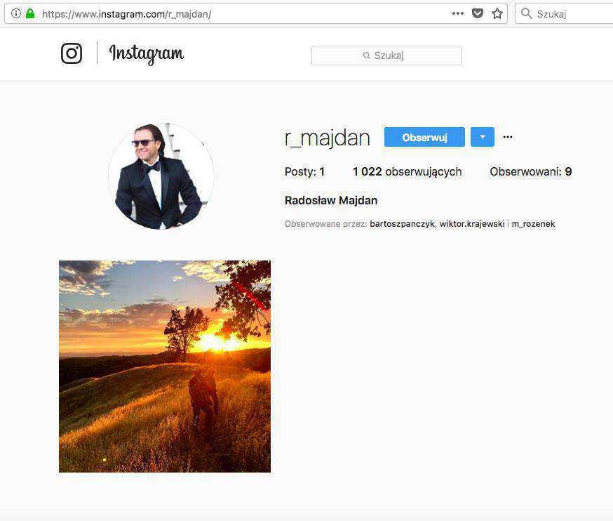 Radosław Majdan założył profil na Instagramie