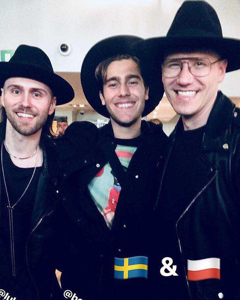Gromee i Lukas Meijer w Londynie przed Eurowizją 2018, z reprezentantem Szwecji – Benjamin Ingrosso