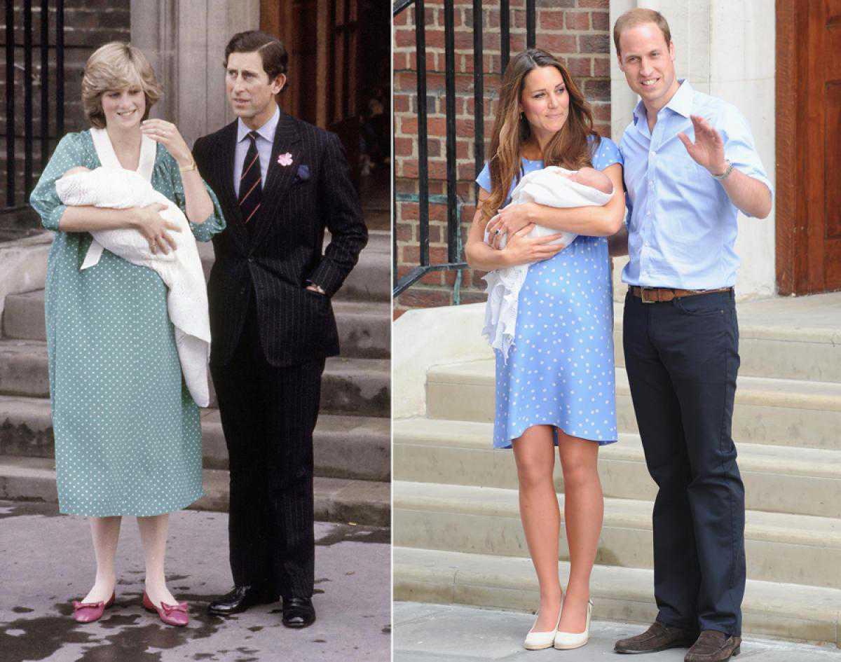 Księżna Kate i księżna Diana po narodzinach swoich pierwszych synów