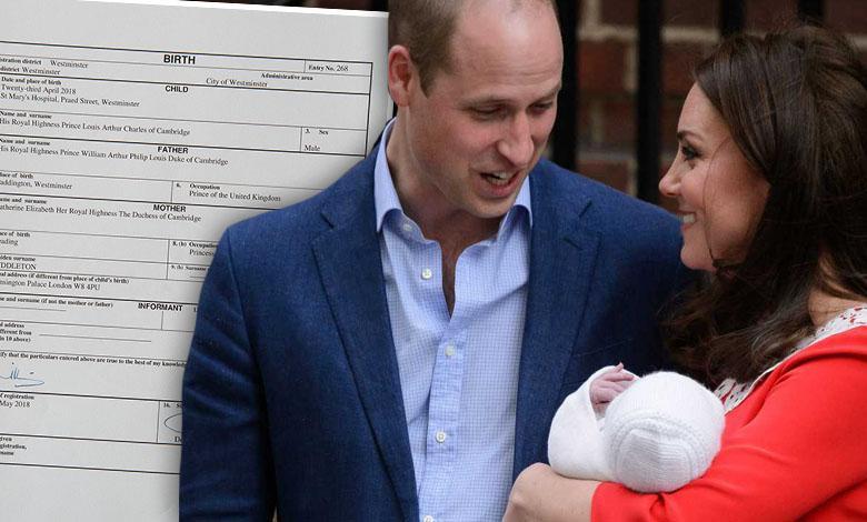 Książę William i księżna Kate zarejestrowali księcia Louisa w urzędzie