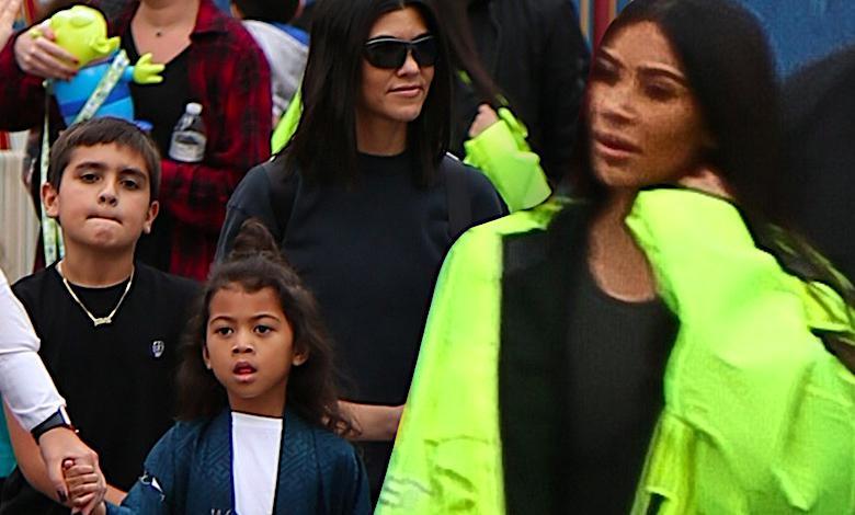 Kim Kardashian zabrała dzieci do Disneylandu. Nawet tam prowokowała swoim strojem