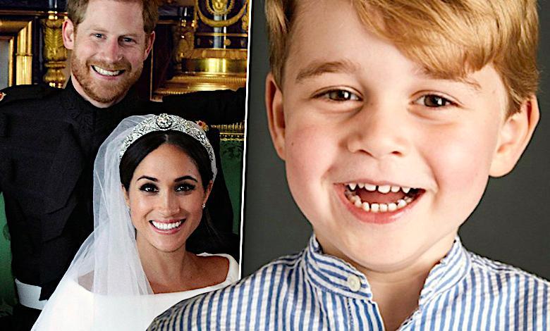 Kapitalne ujęcie! Książę George mistrzem drugiego planu na oficjalnym ślubnym zdjęciu Meghan i Harry'ego!