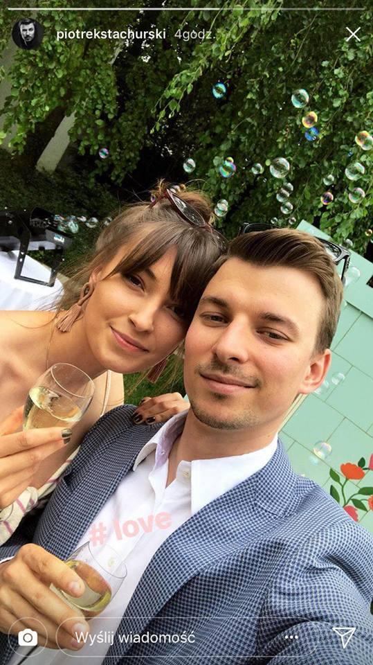 Piotr Stachurski z dziewczyna oraz Klara Lewandowska na urodzinowym party
