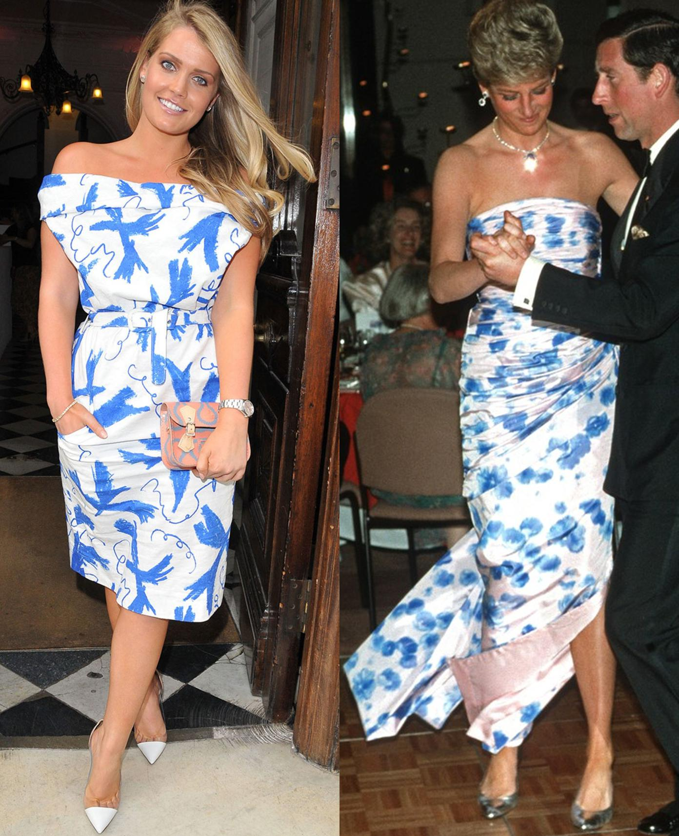Kitty Spencer i księżna Diana w niebiesko-białych sukienkach