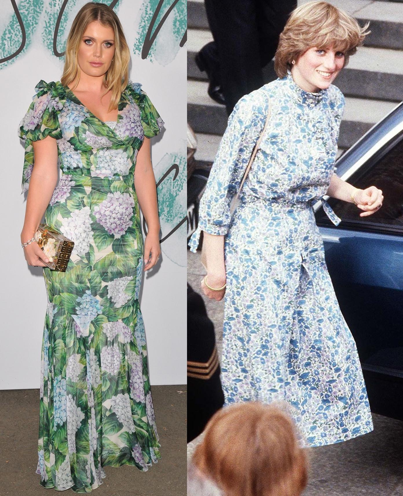 Kitty Spencer i księżna Diana w sukienkach w kwiaty