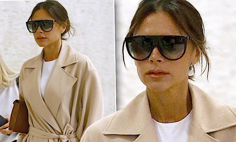 Victoria Beckham na lotnisku w Nowym Jorku