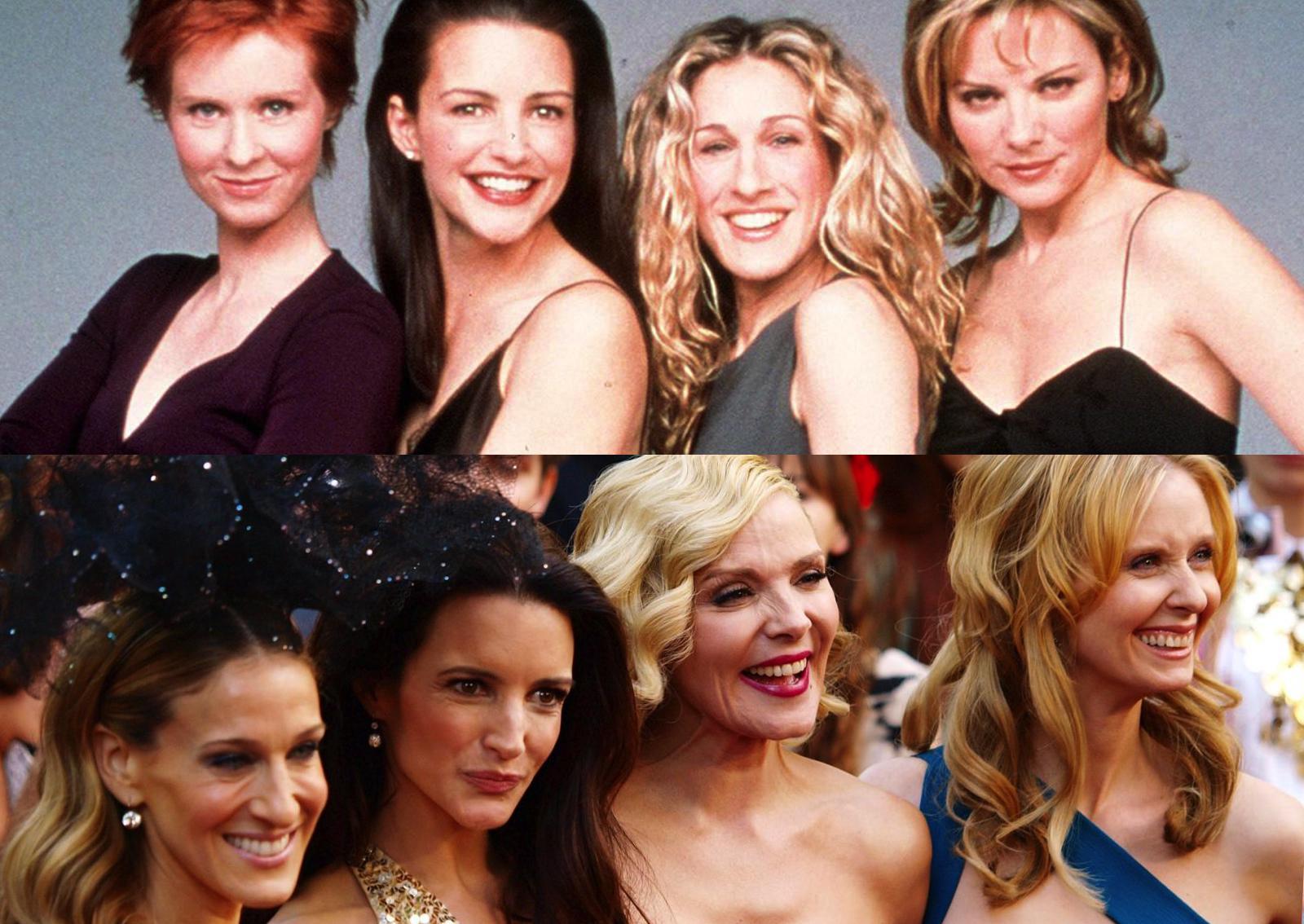Seks w wielkim mieście (u góry główne bohaterki serialu w 1994 roku, u dołu w 2010)