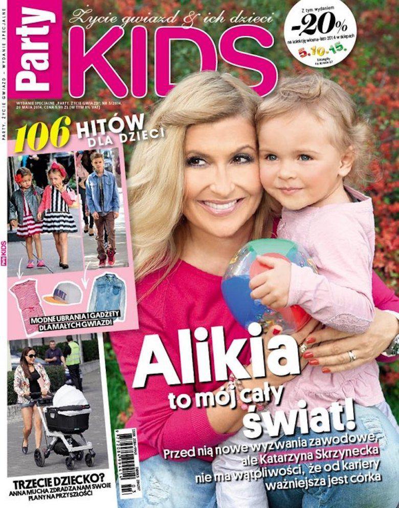 Katarzyna Skrzynecka z córką Alikią na okładce Party Kids (wrzesień 2014)