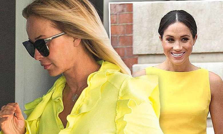 Joanna Przetakiewicz w żółtej sukience bez stanika