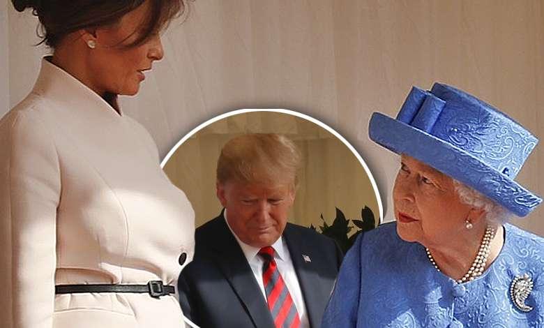 Melania Trump i Donald Trump na spotkaniu z królową Elżbietą II