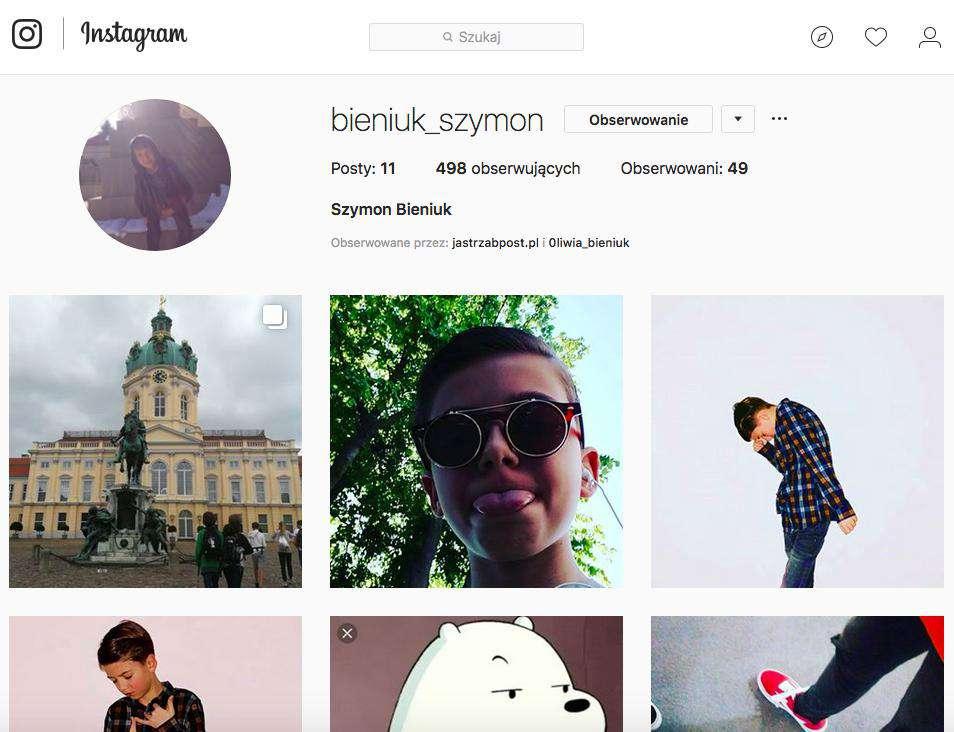 Instagram Szymona Bieniuka, syna Anny Przybylskiej i Jarosława Bieniuka