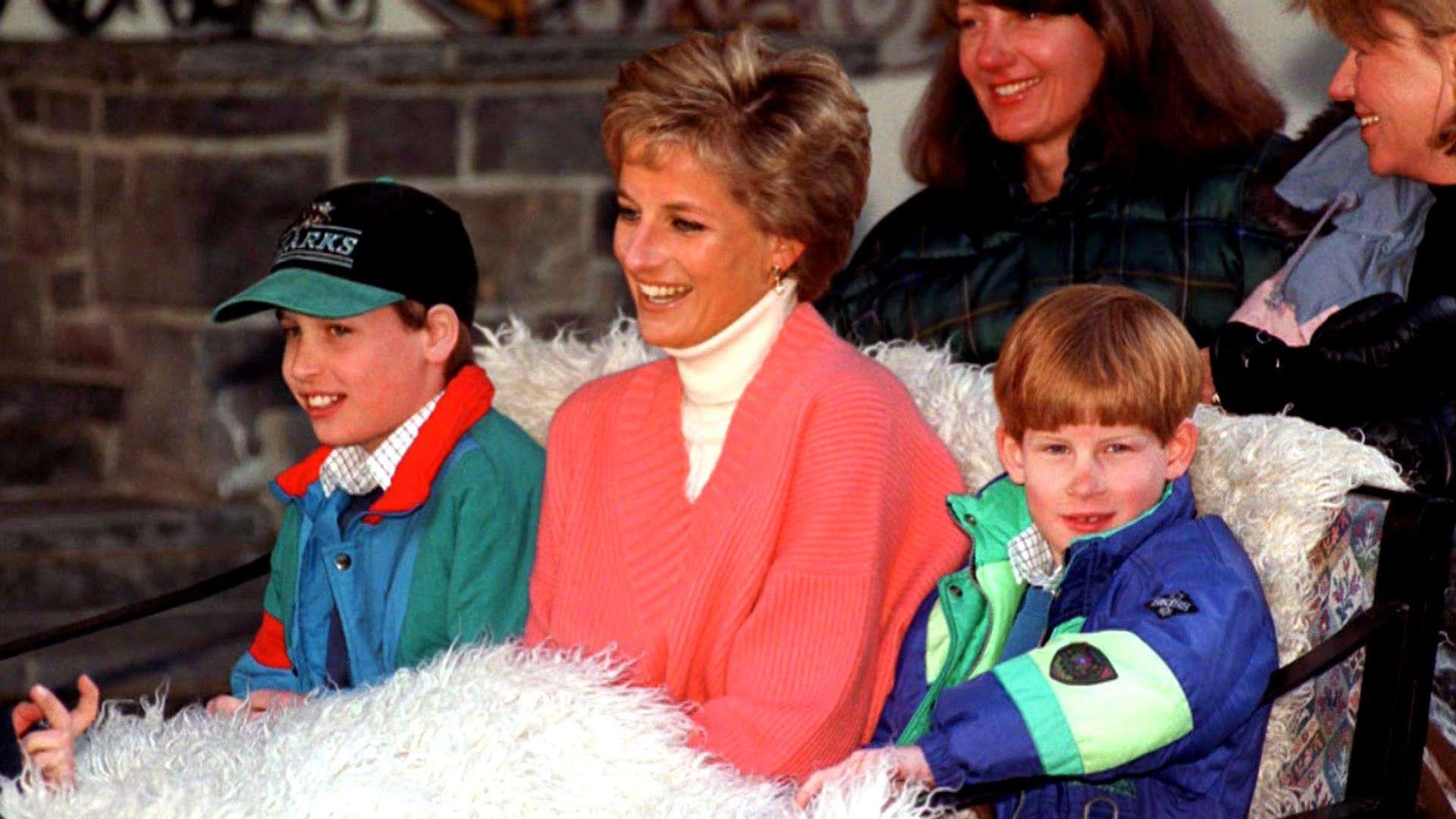 Księżna Diana z Harrym i Williamem na feriach