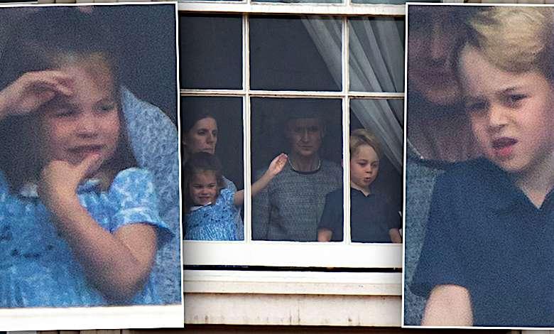 George i Charlotte wygłupy w oknie