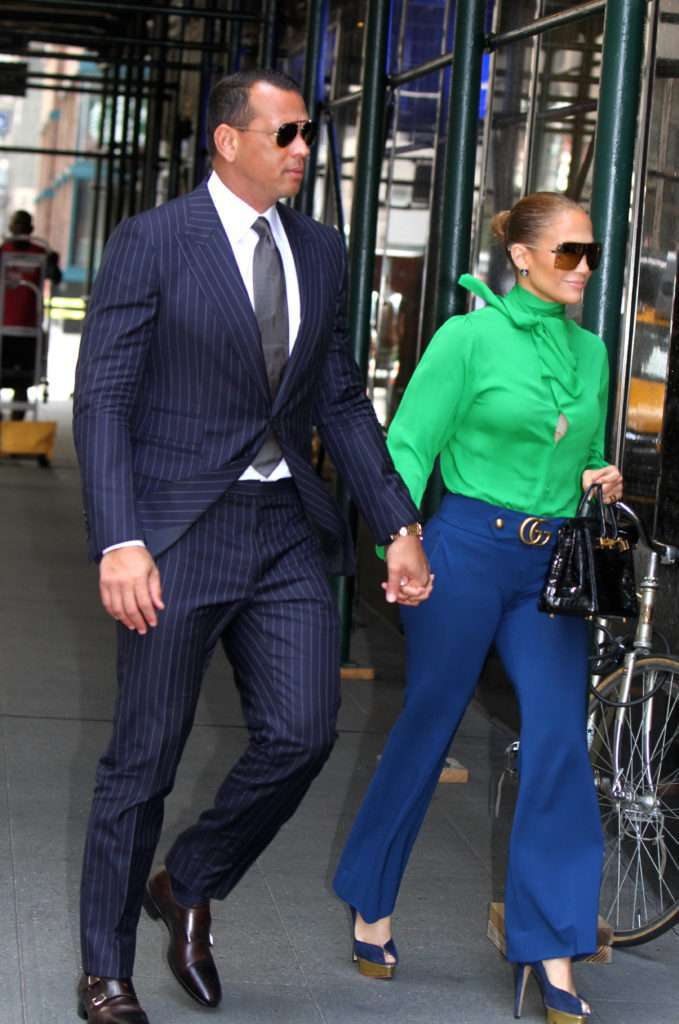 Jennifer Lopez and Alex Rodriguez hold hands as they head out for breakfast in Downtown, Manhattan