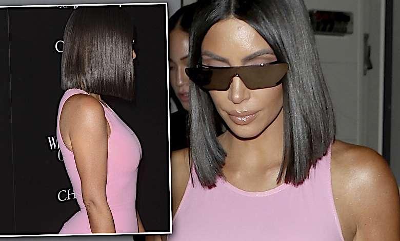 Kim Kardashian w różowej lateksowej sukience i spanxach