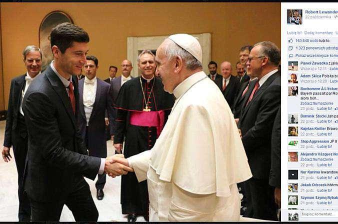 Robert Lewandowski na spotkaniu z papieżem Franciszkiem