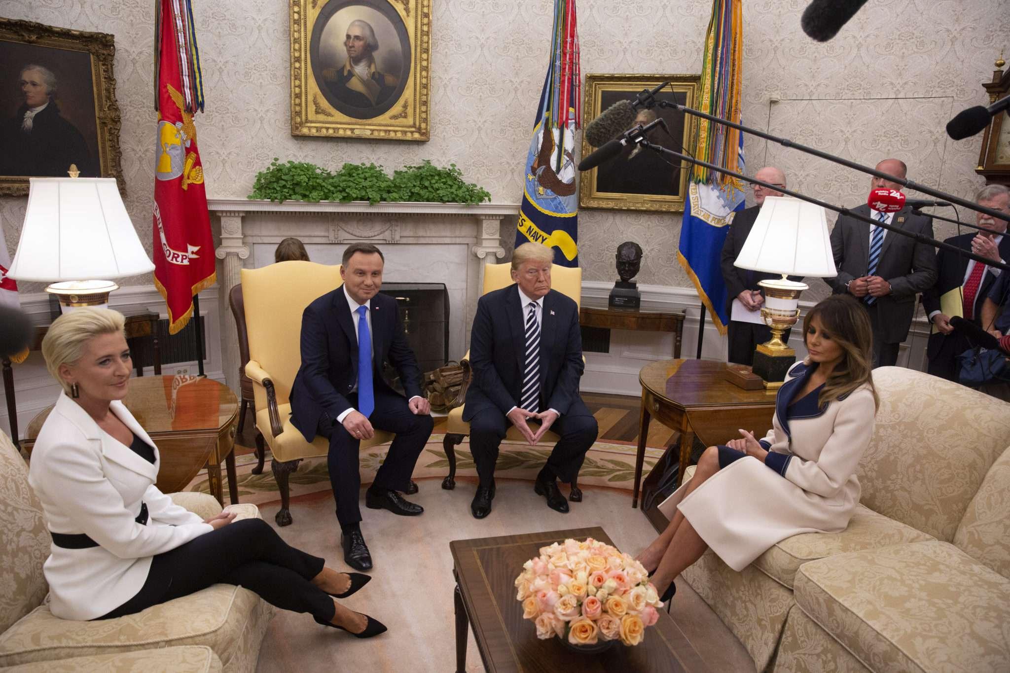 Para prezydencka podczas wizyty u Donalda i Melanii Trumpów w Białym Domu