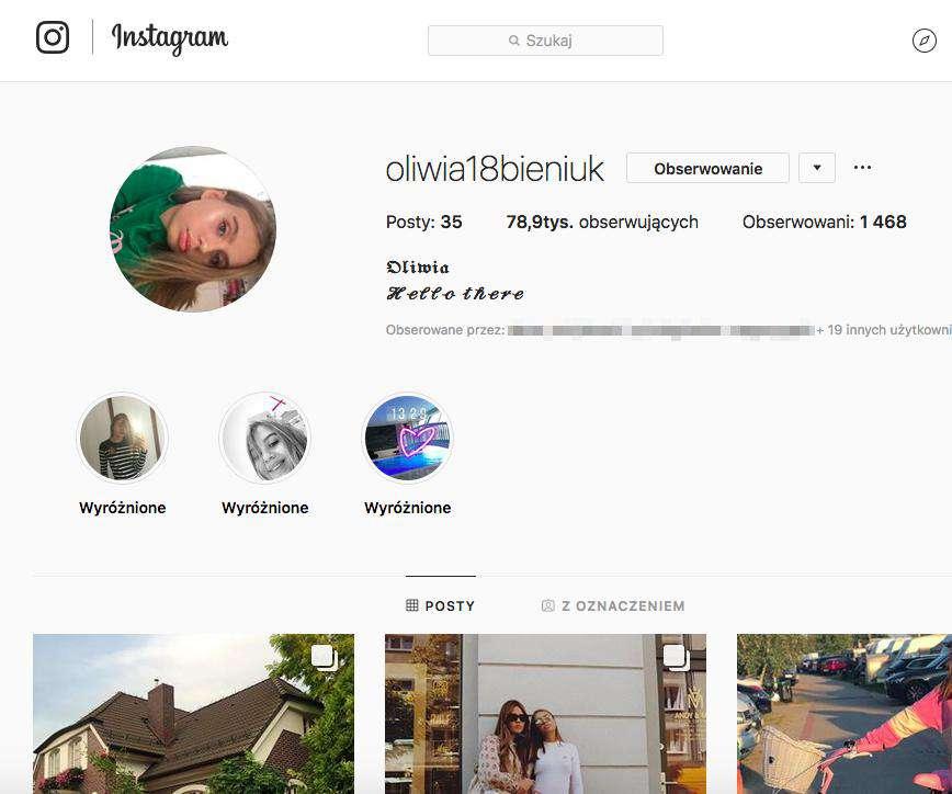 Oliwia Bieniuk na Instagramie