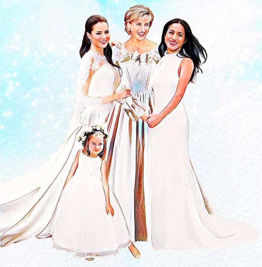 Księżna Kate, księżna Diana, Meghan Markle i księżniczka Charlotte na wspólnym zdjęciu