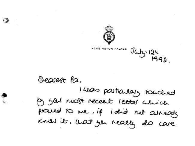 Listy księżnej Diany do księcia Filipa