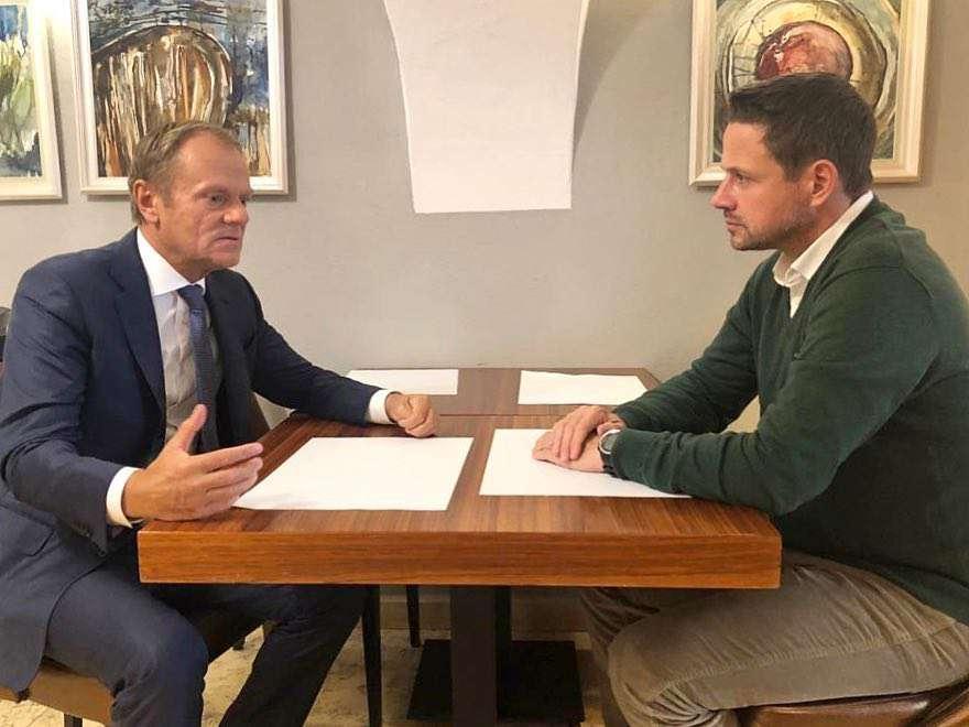 Rafał Trzaskowski na spotkaniu z Donaldem Tuskiem