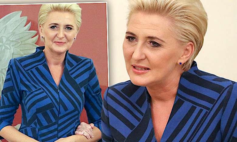 Agata Duda w niebieskiej sukience